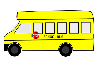 Graphic of drawing of a school bus colored bright yellow with red stop sign